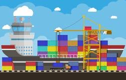 Cargo ship, container crane, truck. port logistics royalty free illustration