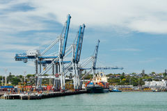 Cargo ship and container cranes on Fergusson Wharf at Ports of Auckland Royalty Free Stock Photos