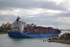 Cargo ship container. A cargo container ship entering port of Miami June 2014 Royalty Free Stock Photo
