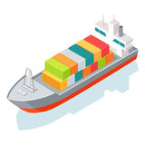 Cargo Ship or Container Isolated on White. Vector Stock Photo