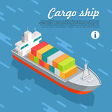Cargo Ship Container Sailing in Sea. Vector Stock Image