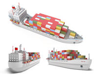 Cargo ship with containers royalty free illustration