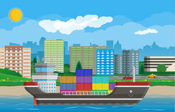 Cargo ship, containers, cityscape. Port logistics Stock Photos