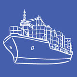 Cargo ship with containers icon hand drawn Stock Images