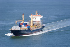 Cargo ship with containers moving Stock Image
