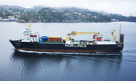 Cargo ship near Bergen Stock Images