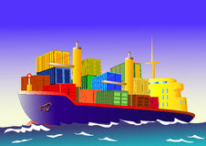 Cargo ship with containers, vector Royalty Free Stock Images