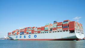 Free Cargo Ship COSCO EXCELLENCE Departing The Port Of Oakland Royalty Free Stock Photography - 98335547