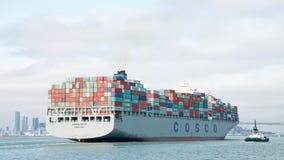 Cargo Ship COSCO FAITH departing the Port of Oakland Stock Photo