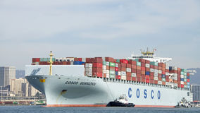 Cargo Ship COSCO GUANGZHOU entering the Port of Oakland. Stock Image