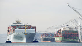 Cargo Ship COSCO GUANGZHOU entering the Port of Oakland. Royalty Free Stock Images
