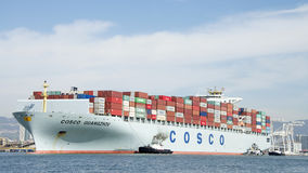 Cargo Ship COSCO GUANGZHOU entering the Port of Oakland Stock Image