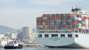 Cargo Ship COSCO GUANGZHOU entering the Port of Oakland. Royalty Free Stock Photo