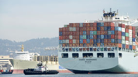 Cargo Ship COSCO GUANGZHOU entering the Port of Oakland Stock Photography