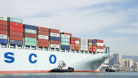 Cargo Ship COSCO GUANGZHOU entering the Port of Oakland. Royalty Free Stock Photos