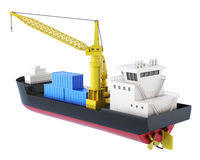 Cargo ship with crane isolated. 3d rendering.  Royalty Free Stock Photography