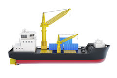 Cargo ship with crane isolated on white background. 3d rendering Royalty Free Stock Photo