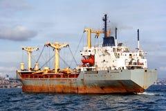 Cargo ship with cranes Royalty Free Stock Photos