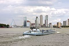 Cargo ship cruising in Rotterdam Netherlands Stock Photography