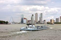 Cargo ship cruising in Rotterdam Netherlands stock photography
