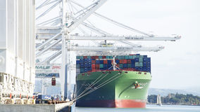 Cargo Ship CSCL SUMMER loading at the Port of Oakland. Royalty Free Stock Image