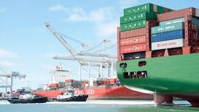 Cargo ship CSCL WINTER entering the Port of Oakland Stock Photo