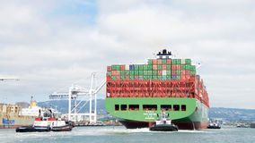 Cargo ship CSCL WINTER entering the Port of Oakland Royalty Free Stock Images