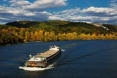 Cargo ship on the Danube Stock Photos
