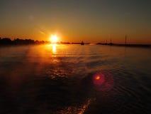 Cargo ship on Danube. Romania. Morning sun Stock Images