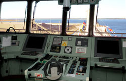 Cargo Ship Dashboard, Blue Water View, Commanders Cabin Stock Photos