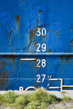 Cargo ship depth gauge Royalty Free Stock Photo