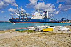 Cargo ship. A cargo ship docked at the Malta freeport on good Firday 2014 Stock Photography