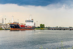 cargo ship docked in the port Royalty Free Stock Image