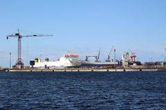 A cargo ship docked at the port of Dunkirk occupied to be loaded by cranes. A withe cargo ship docked at the port of Dunkirk occupied to be loaded by cranes Royalty Free Stock Photos