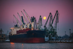 Cargo ship docked in the port Royalty Free Stock Photos