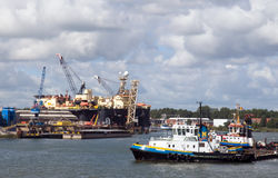 Cargo ship docking Royalty Free Stock Photo