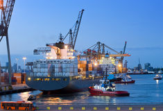 Cargo ship docking royalty free stock photography
