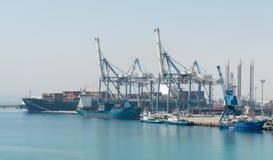 Cargo ship docking Stock Photo