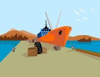 Cargo ship in dockyard Royalty Free Stock Photos