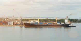 Cargo ship in dockyard Stock Photography