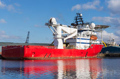 Cargo ship in Edinburgh docks Royalty Free Stock Images