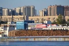 Cargo ship and embankment of the Neva river Royalty Free Stock Photos
