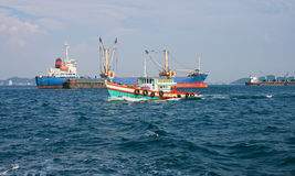 Cargo ship entering Gulf of Thailand Royalty Free Stock Photo