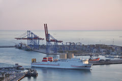 Cargo ship entering Malaga port Stock Photos