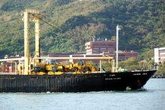 Cargo Ship Enters Kaohsiung Port Royalty Free Stock Photos