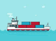 Cargo ship floating on ocean water vector illustration, flat cartoon big shipping freighter boat on sear waves carrying. Cargo containers line outline style Stock Image