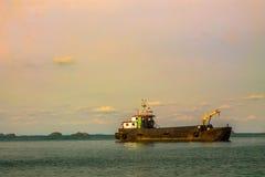 Cargo Ship  floating. Stock Photo