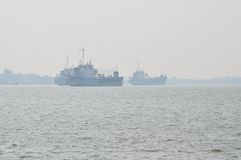 Cargo ship floating on the sea Stock Photo
