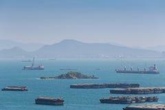 Cargo ship floating in the sea of sriracha city. Royalty Free Stock Photos
