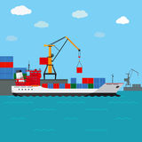 Cargo ship. Freight shipping by water Royalty Free Stock Images